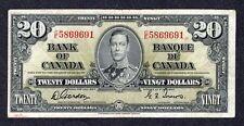 1937 $20.00 BC-25b F-VF ** SCARCE Bank of Canada George VI GORDON Twenty Dollars