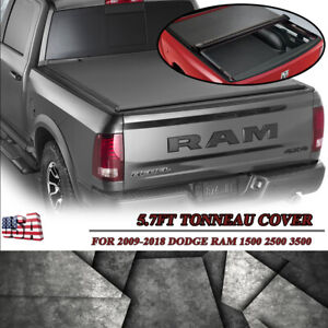 Roll Up Vinyl Tonneau Cover for 2009-2018 Dodge Ram 1500 5.7 Ft Bed