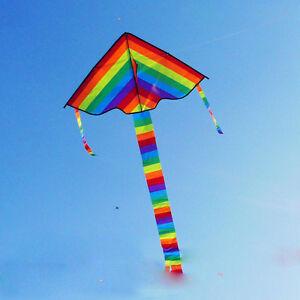 Rainbow-Triangle-Outdoor-Kite-Children-Fun-Sports-Kids-Toys-Good-Gift-Air-Fly