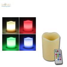 LED Echtwachs-Kerze RGB ØxL7x10cm + Fernbedienung für Farbwechsel, flackernd
