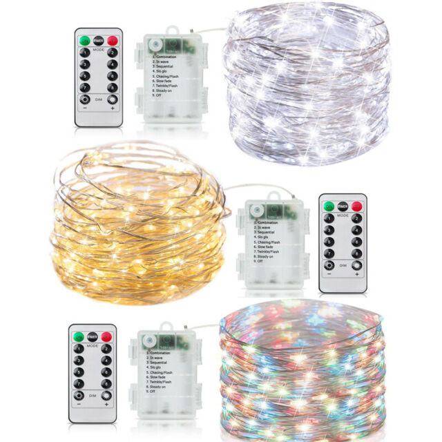 20-100 LEDs Battery Operated Mini LED Copper Wire String Fairy Lights W// Remote