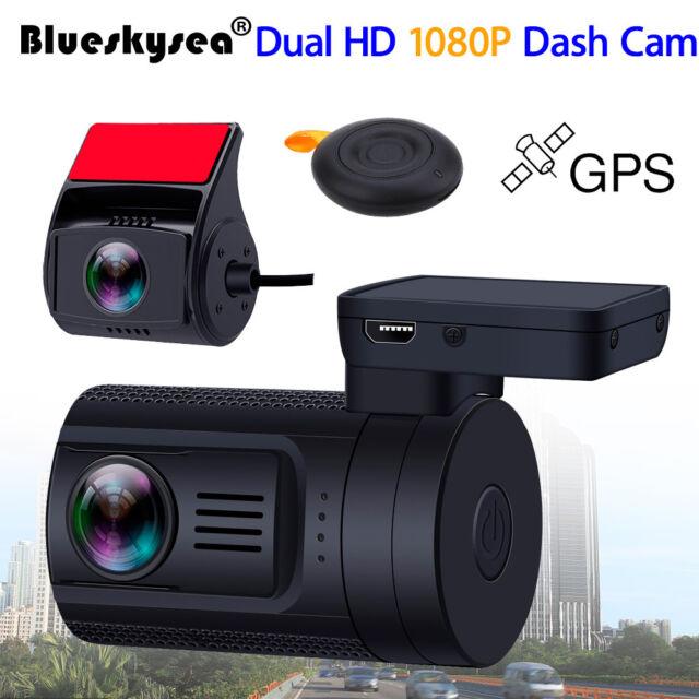 Dual 1080P Lens Car DVR GPS Dash Cam Video Recorder RearView Camera Wide Angle
