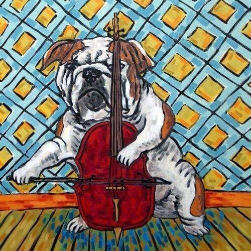 bulldog cello picture dog ceramic art tile coaster