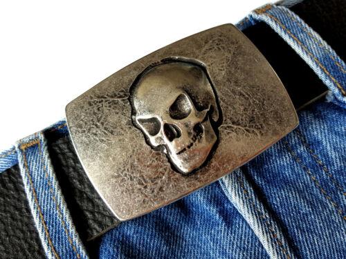 Gürtelschnalle Wechselschnalle Buckle Skull Totenkopf Biker silber rosé  4cm
