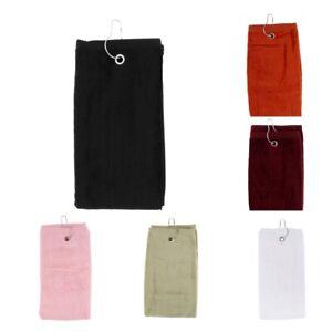 55x40cm-Cotton-Tri-Fold-Hiking-Cotton-Golf-Sport-Bag-Towel-W-Carabiner-Clip