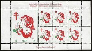 Denmark-DJF-1973-Local-Xmas-TB-Seal-Sheet-VF-NH-Minor-adhesions