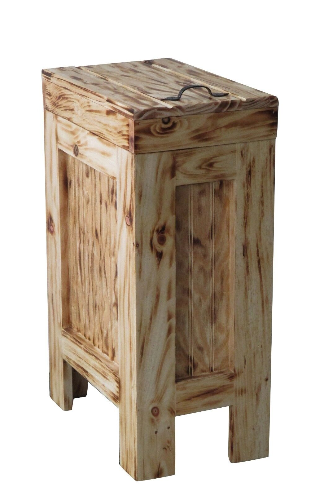 Wood Trash Can Kitchen Garbage Can Rustic Wood Trash Bin Burnt w  Clear Coat
