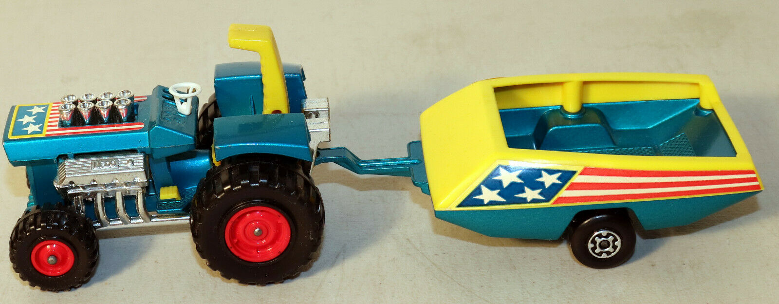 DTE LESNEY MATCHBOX SUPERKINGS SK-3 MOD TRACTOR & YEL blueE TRAILER