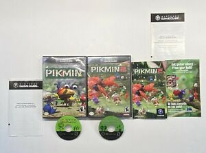 Nintendo-Gamecube-Pikmin-1-amp-Pikmin-2-Game-Lot-Black-Label