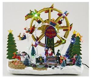 Immagini Natale Movimento.Dettagli Su Giostra Carillon Natale Ruota Panoramica Luci Musica E Movimento Cm 40x45 123649