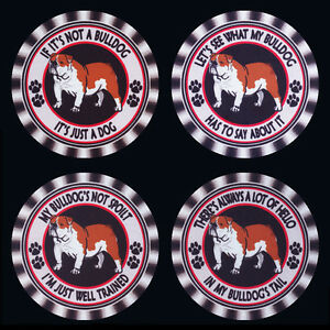 4 x BRITISH BULLDOG DOG DRINK COASTERS, FOUR DIFFERENT CAPTIONS -