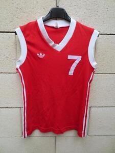 Détails sur VINTAGE Maillot basket ADIDAS débardeur porté n°7 femme rouge shirt trikot nylon