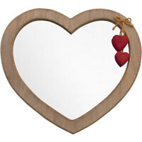 Beautiful Heart Shaped Wall Hanging Mirror With Shabby Chic Driftwood Effect