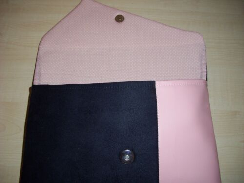 OVER SIZED BABY PINK /& NAVY BLUE Faux suede asymmetrical clutch bag BN