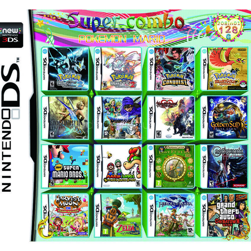 208in1 Video Game Games Cartridge Multicart For DS NDS NDSL NDSi 2DS 3DS 1