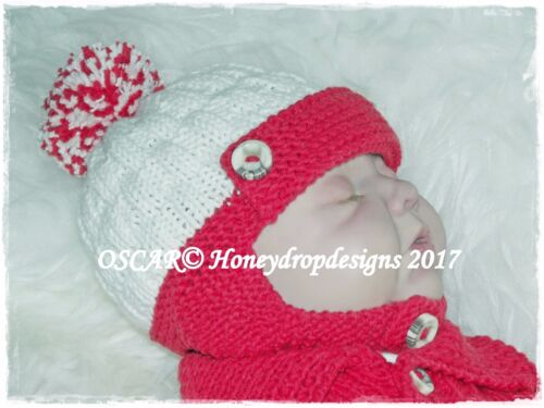 Oscar PAPER KNITTING PATTERN  0-6 MONTHS approx. HONEYDROPDESIGNS