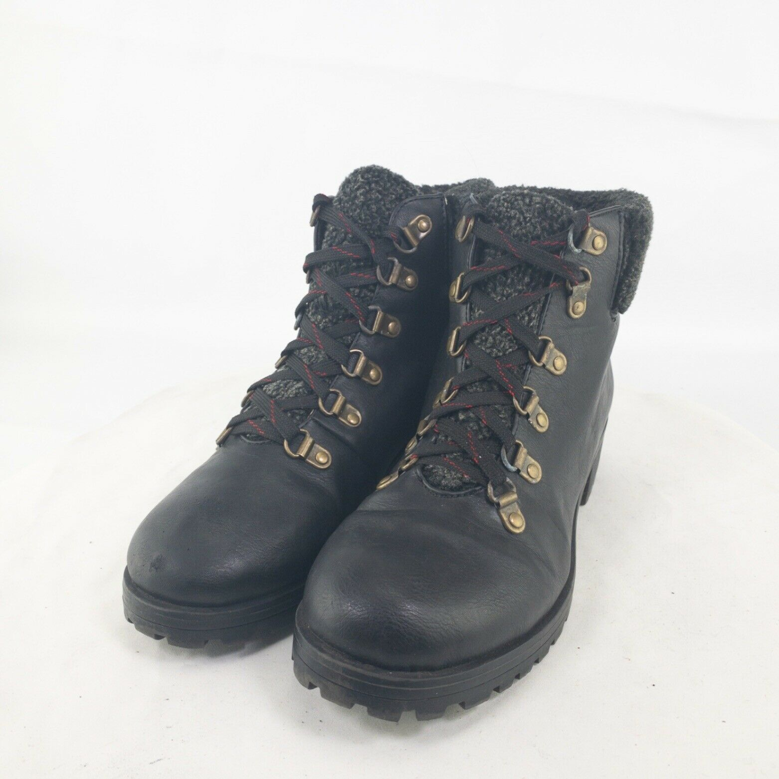 Shoedazzle Womens Black Leather Round Toe Lace Up Ankle Combat Boots Size US 9