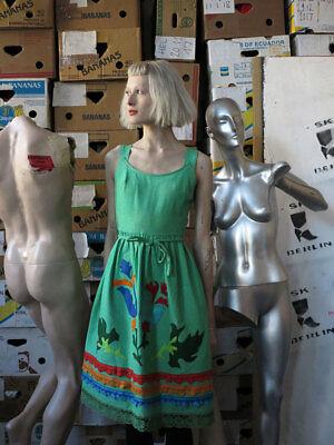 Clarissa Modelli Trachten Abito Lino Abito Vestito Verde True Vintage Linen Dress-mostra Il Titolo Originale Può Essere Ripetutamente Ripetuto.