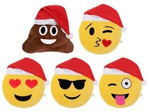 Coussin Decoratif Peluche Smiley Bonnet De Noel Attache Oreiller Emoji Emoticone Ebay