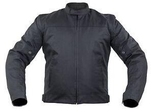 Tessile Giacca Moto con protezioni Biker Custom vento NERO di tenuta  </span>