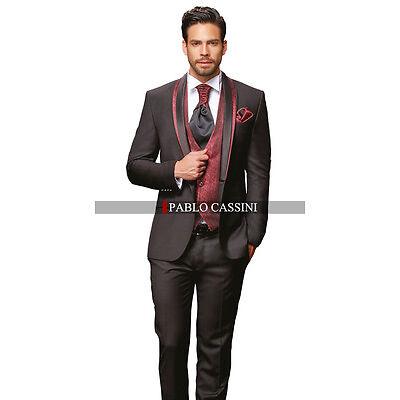 PABLO CASSINI Designer Herren Anzug Schwarz Bordeaux Hochzeitsanzug NEU PC_10