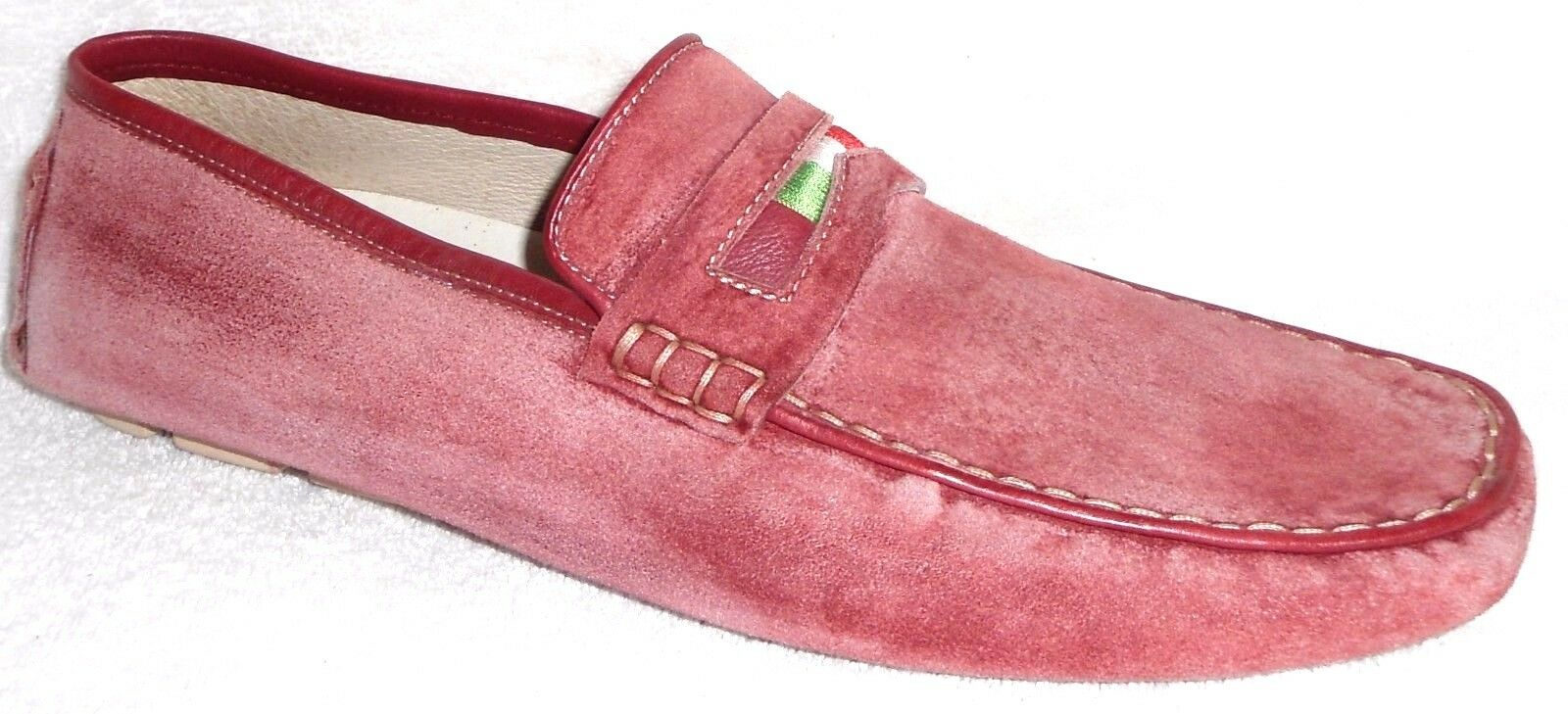 NEW BACCO BUCCI WASHED RED SUEDE LOAFERS SLIP ON SHOES SIZE 9