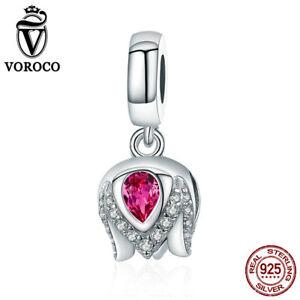 VOROCO-925-Sterling-Silver-AAA-CZ-Cute-Tulip-Dangle-Charms-Fit-European-Bracelet