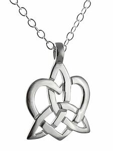 Trinity knot heart necklace 925 sterling silver celtic triquetra image is loading trinity knot heart necklace 925 sterling silver celtic mozeypictures Image collections