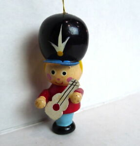 Marching-Band-Boy-Wooden-Christmas-Ornament-1984-vintage-with-guitar