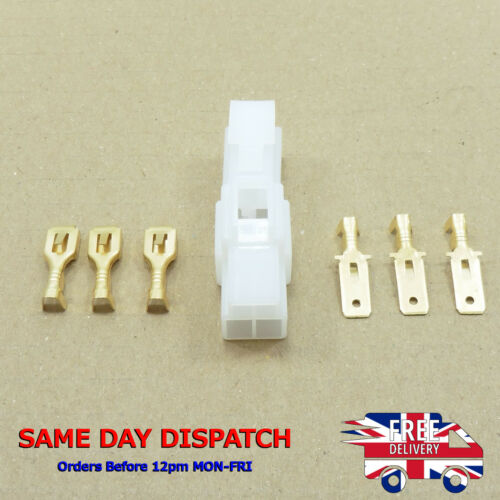 White 3-Way Supply Mini Car Bike Connector Kit Electrical Plug 6.3mm PIN Socket