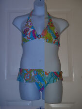 Trina Turk Bikini Bathing Suit Swimsuit Size 10 Aqua Pink Lime Gold Clip