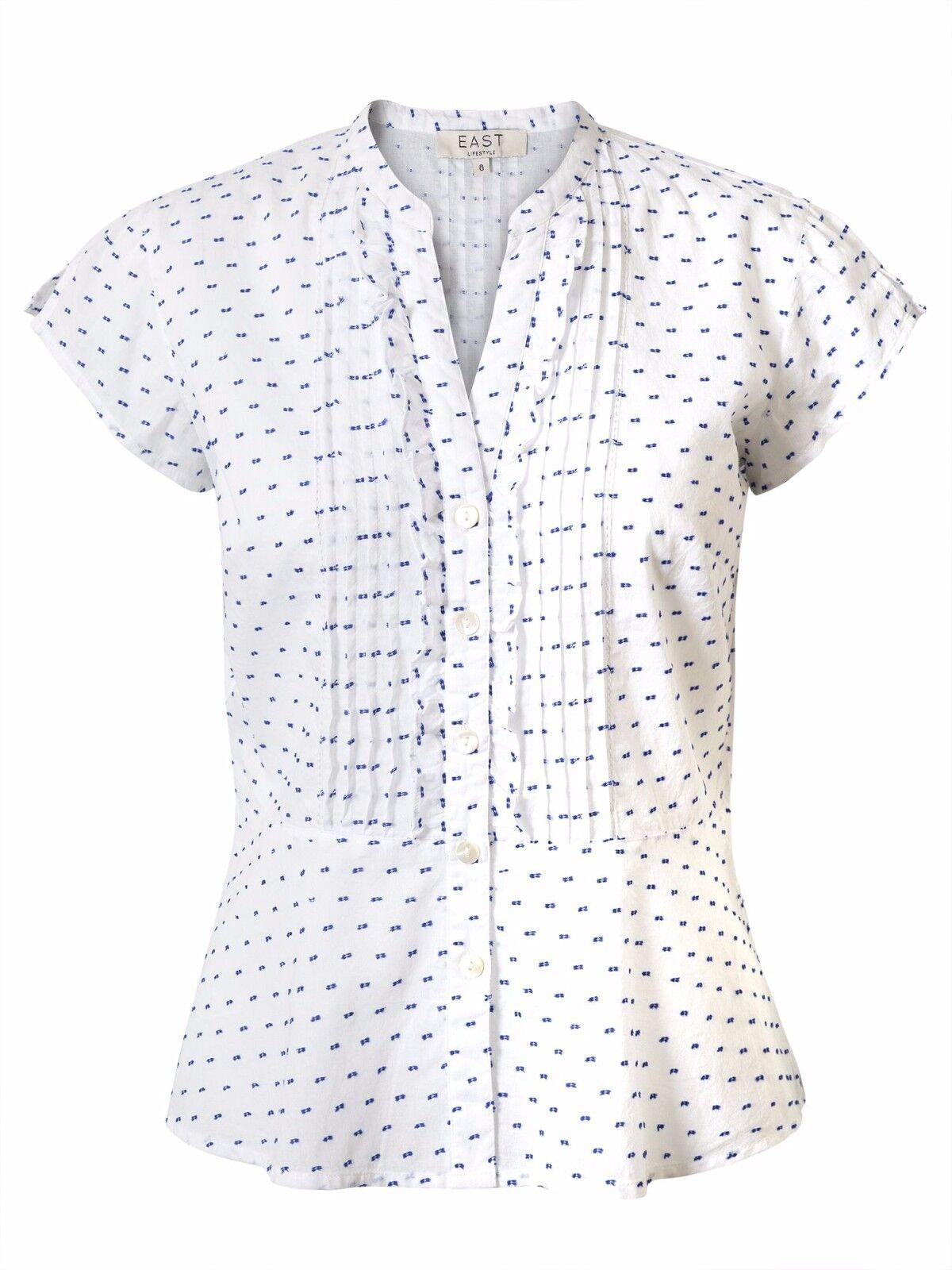 EAST EAST EAST Polka Dot Dobby shirt Bianca Taglia Uk 14 RRP  DH170 KK 05 5784cd