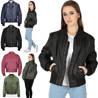 Womens Ladies Girls Vintage Retro Classic Style MA 1 Zip Up Biker Bomber Jacket