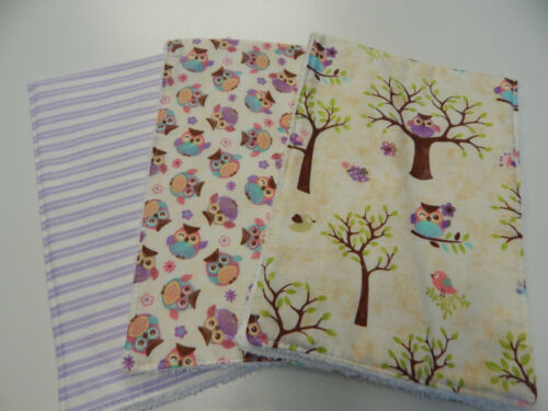 Purple Burp Cloths Towelling Backed GREAT GIFT IDEA! Woodland Owls 3 Pack