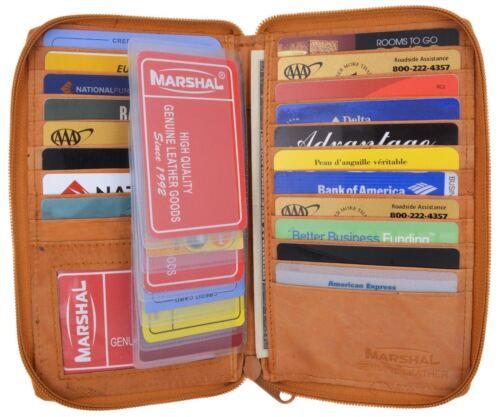 Genuine Leather Zip Around Credit Card ID Holder Hipster Long Wallet Organizer