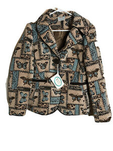 Butterfly-Tapestry-Jacket-Isabella-039-s-Journey-S-M-Tan-Brown-Blue-New-Garden-Lined