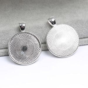 10pcs Silver Base Blank Bezel Cabochon Setting Jewelry Round Pendant Trays DIY