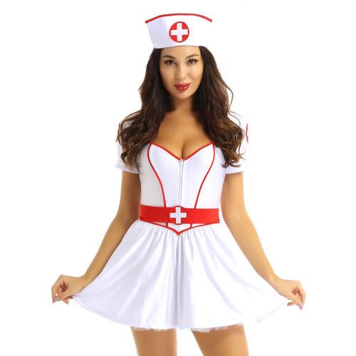 Womens Naughty Nurse Doctor Uniform Costume Outfit Halloween Cosplay Fancy Dress