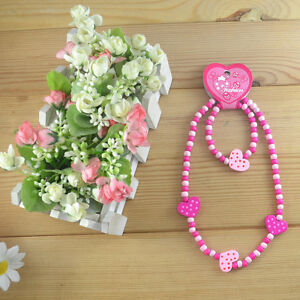 1 Set Cute Pink Heart Bead Kid Child Necklace Bracelet Jewelry Sets For Girls