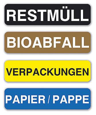 Aufkleberset Mülltrennung Mülltonne Mülleimer Recycling Abfall Schild 12cm Länge Ebay