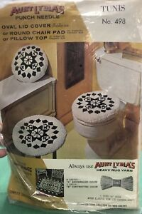 Vintage-Aunt-Lydia-039-s-498-Tunis-Pillow-or-Chair-Pad-Rug-Hook-Punch-Pattern