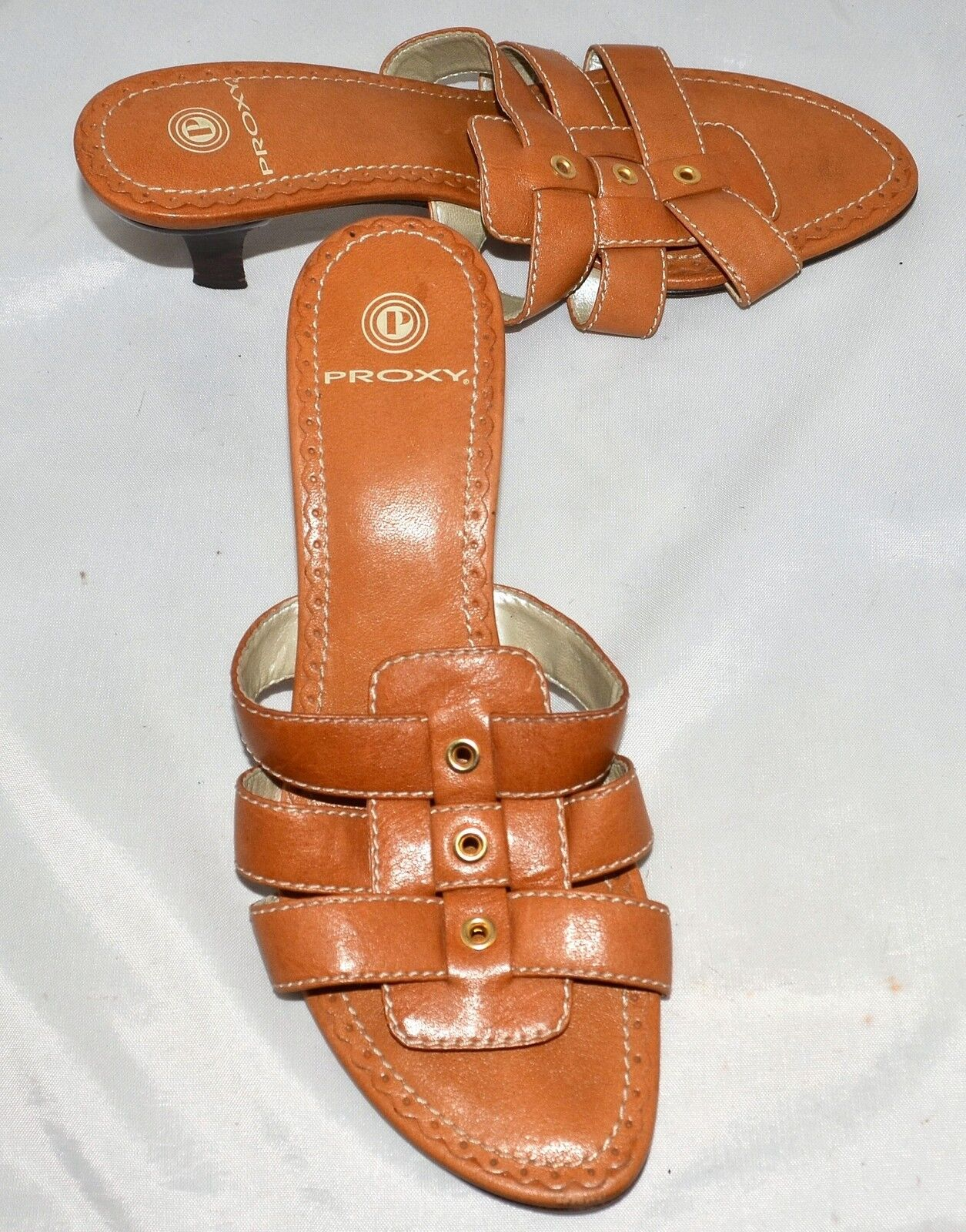 Proxy Tan Leather Slide Sandals with 2.5  Heels & Leather Soles Size 7.5 M