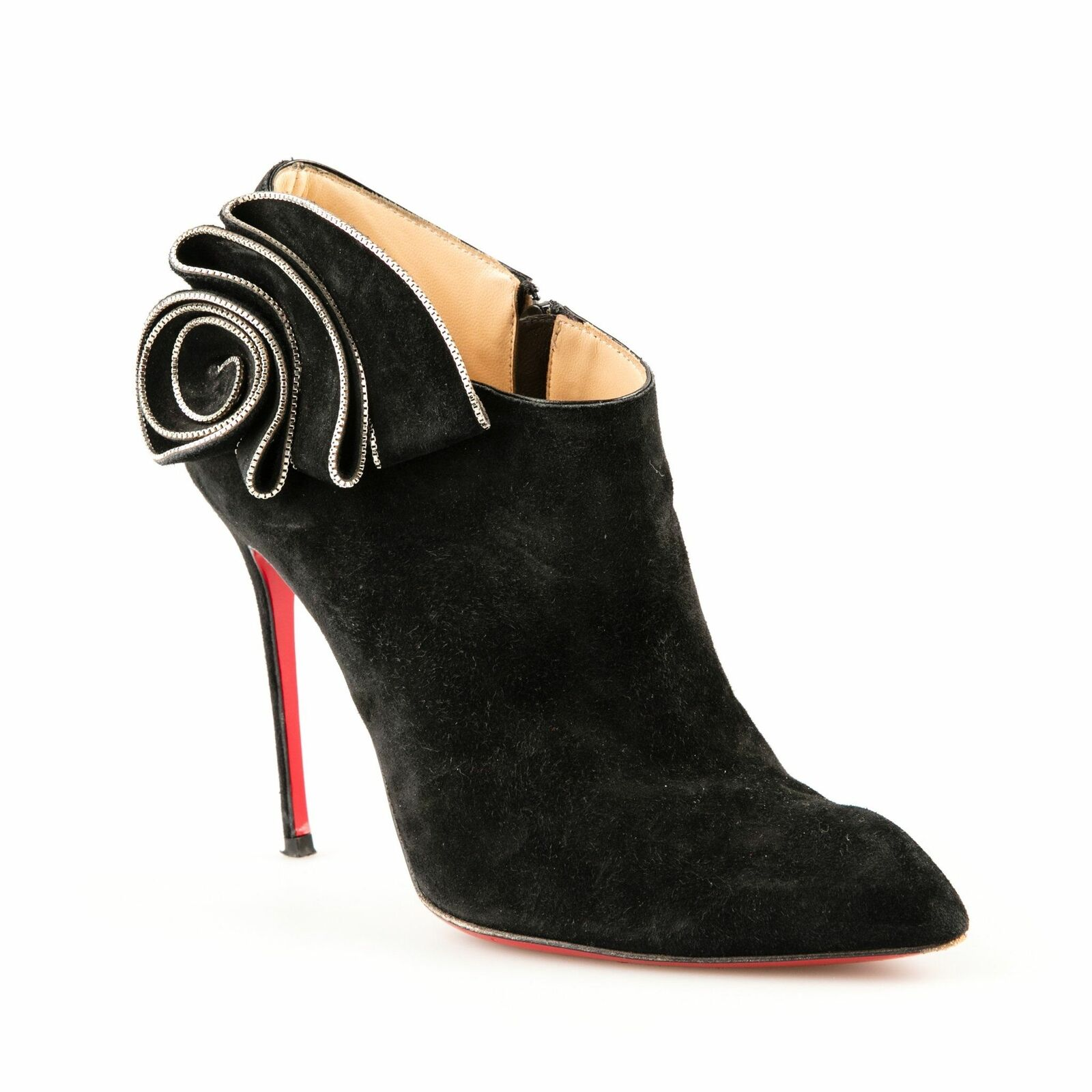 Christian Louboutin 'la señora Baba' Negro Gamuza botas al tobillo-tamaño 38.5