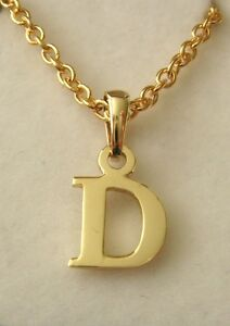 Genuine solid 9k 9ct yellow gold initial d letter pendant ebay image is loading genuine solid 9k 9ct yellow gold initial d mozeypictures Images