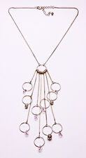 SILVER METAL & PINK BEAD HOOPS PENDANT RINGMASTER NECKLACE, ADJUSTS 7CM (ZX41)