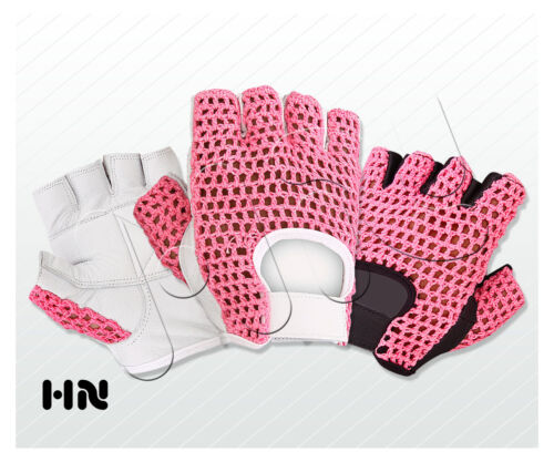 PINK COTTON MESH GEL PADDED LEATHER GYM GLOVES FITNESS CYCLING WEIGHT LIFTING
