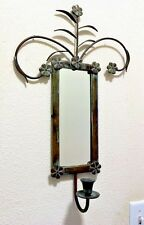 Vintage Indian Wall Mirror Candle Holder Dark Metal Frame Blue Patina Wall Decor