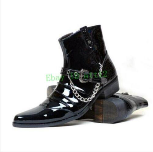 New Men Cuban Chunky heel Punk Ankle Boots Pointy Toe Chain Buckle British Shoes