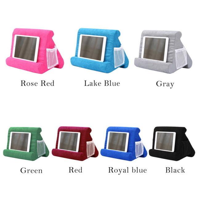 iPad Pillow Stand Books Soft Holder Tablet Log Lap Desk Pyramid Cushion Kit Blue