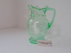 ANTIQUE-MARY-GREGORY-DECANTER-GREEN-GLASS